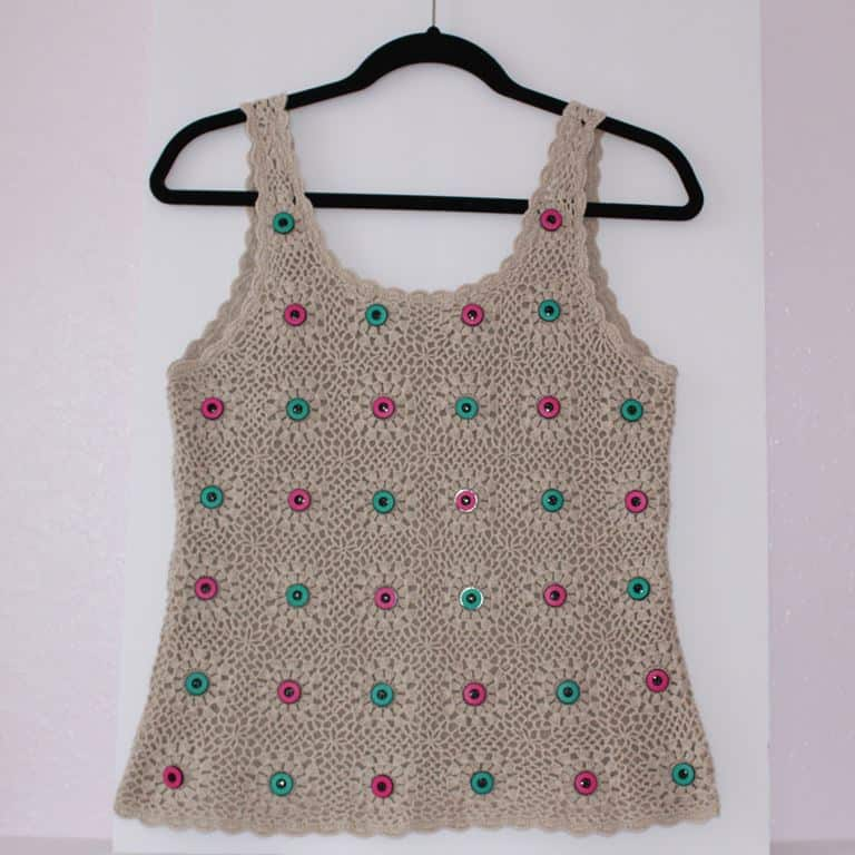 Crochet top with button decor