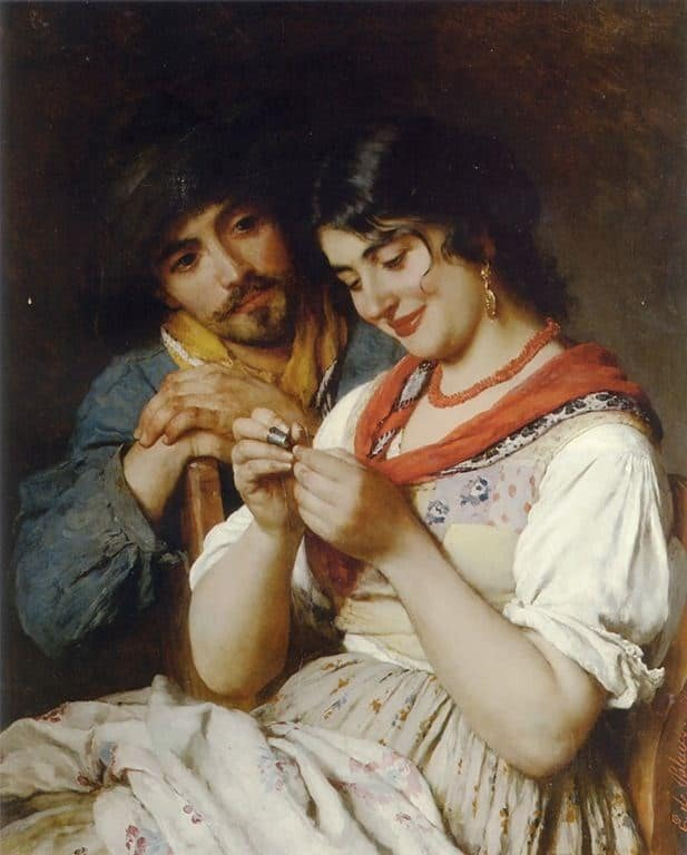 Painting of Eugene de Blaas The seamsterss. Woman is sewing by hand