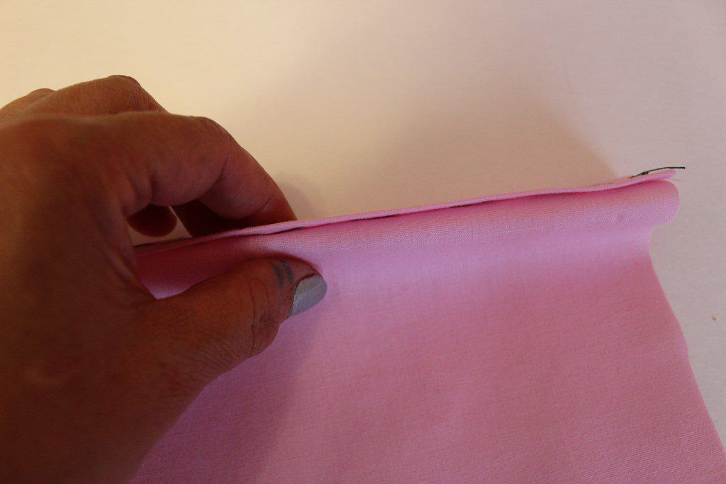 Fold the fabric to start sewing invisible stitch