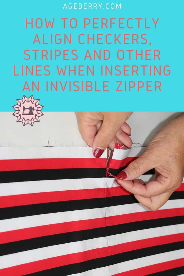 How to perfectly align checkers, stripes and other lines when inserting an invisible zipper