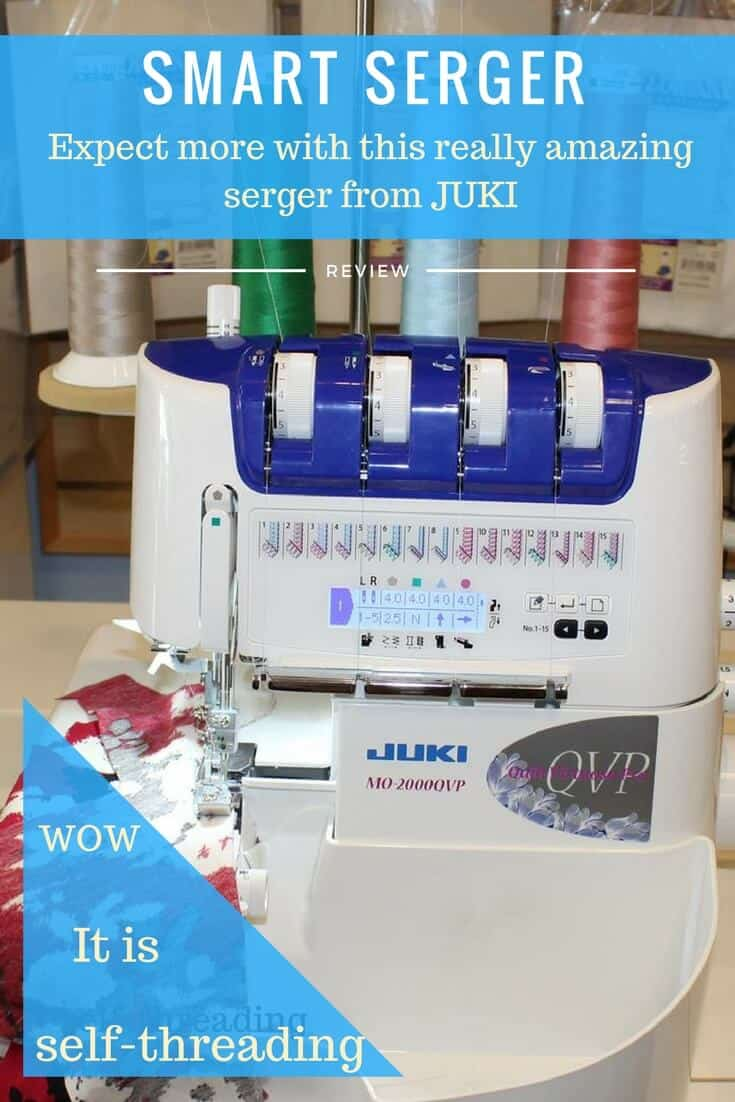 Self-threading serger with LCD screen