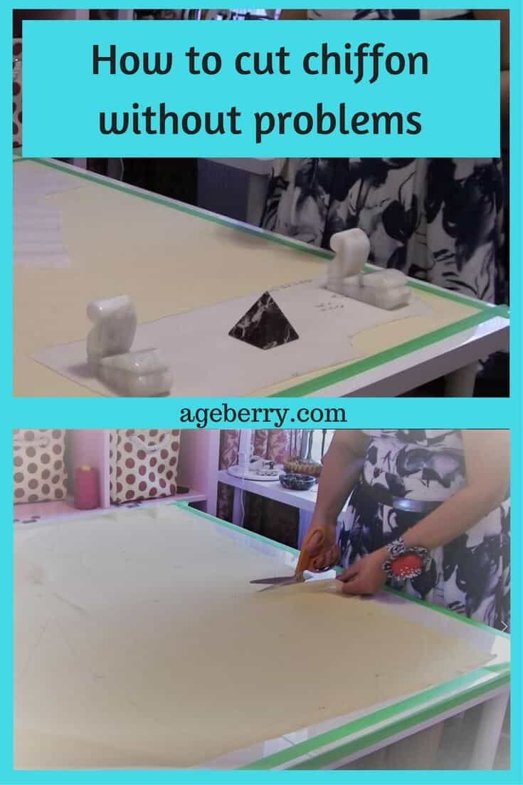 How to cut chiffon, slippery fabric, sewing with silk, sewing tips, sewing techniques, learn to sew, sewing chiffon, sewing basics, how to sew chiffon.