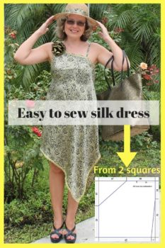 Easy sewing projects, how to sew a dress, sewing silk fabric, how to sew a dress without a pattern, beginners sewing projects, sewing for beginners, learn to sew.