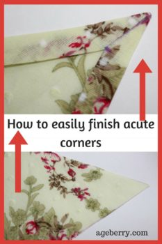 How to finish acute corners easily, sewing techniques and tips, learn to sew, learn sewing, acute corners, finishing corners