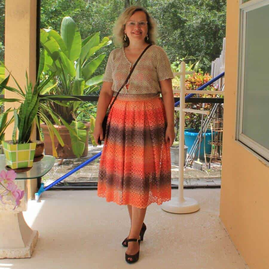 DIY box pleated skirt and crocheted top outfit