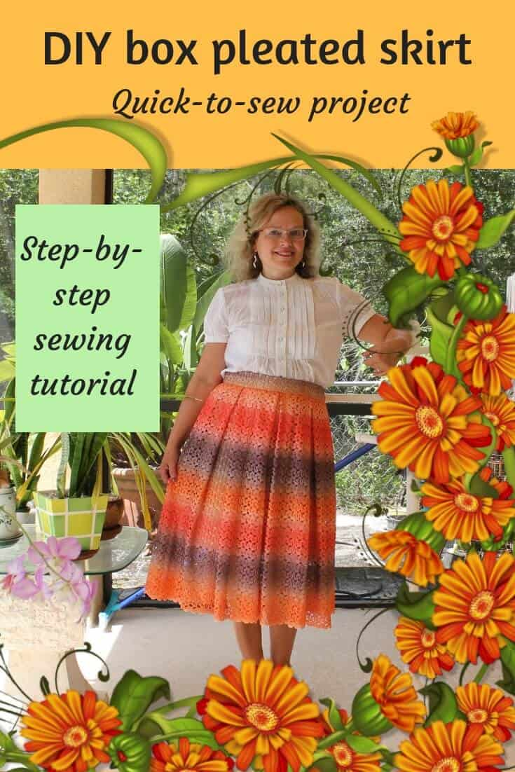how to make pleated skirt pin for Pinterest