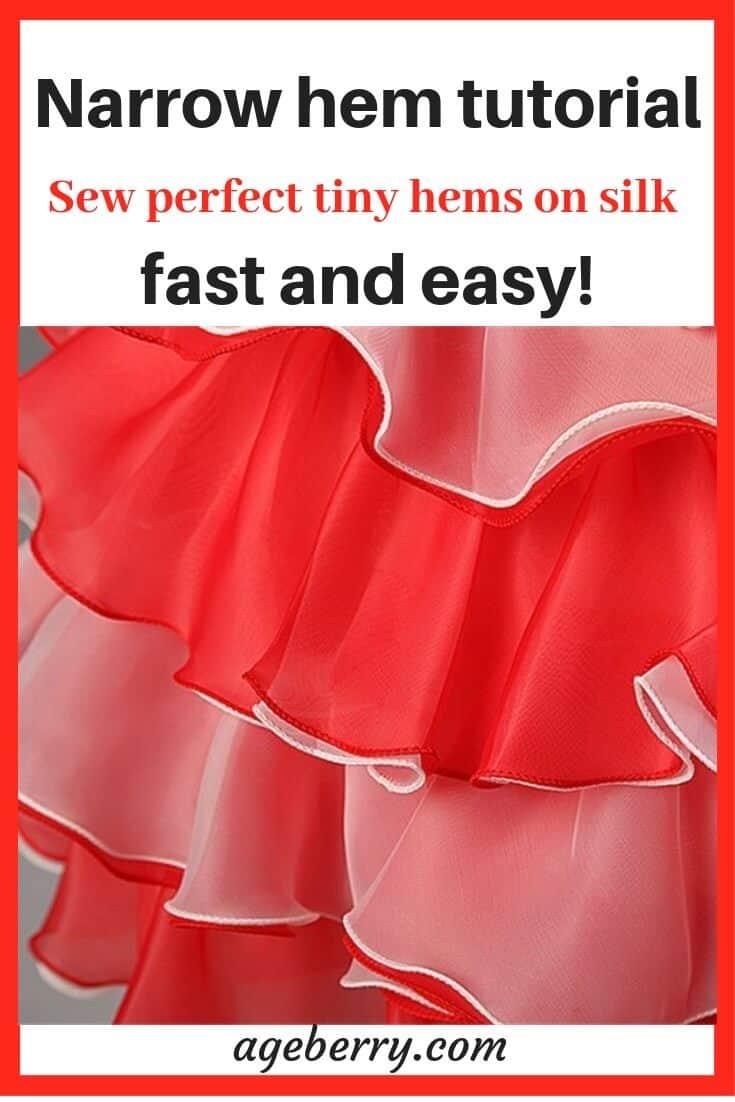 How to make narrow hem sewing tutorial