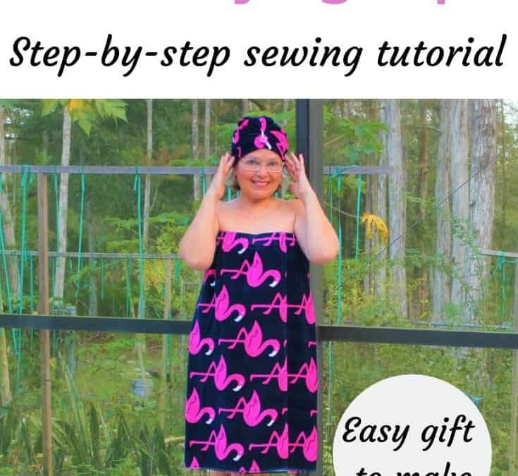 How to sew a bathrobe and a shower cap from terry towels