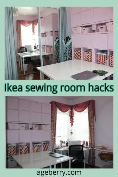 My sewing room with furniture from IKEA pin for Pinterest