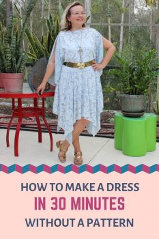 make a dress in 30 minute, easy sewing project pin for Pinterest