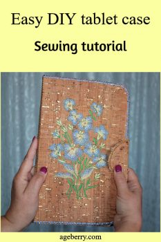DIY tablet case from cork fabric with embroidery
