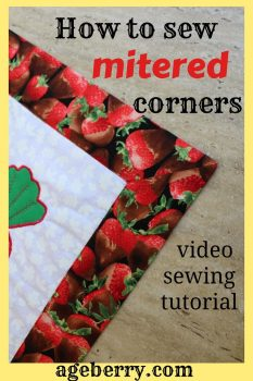 How to sew mitered corners pin for Pinterest