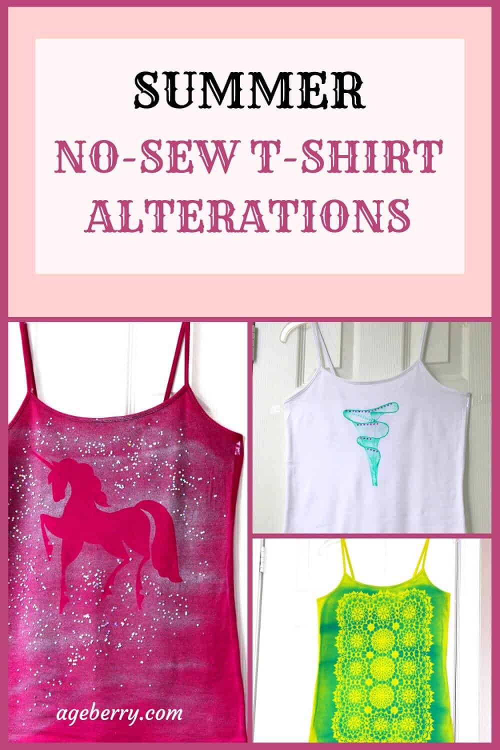 no-sew t-shirt alterations pin for Pinterest