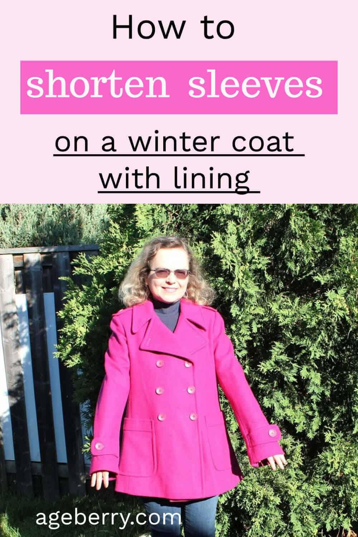 how to shorten coat sleeves pin for Pinterest