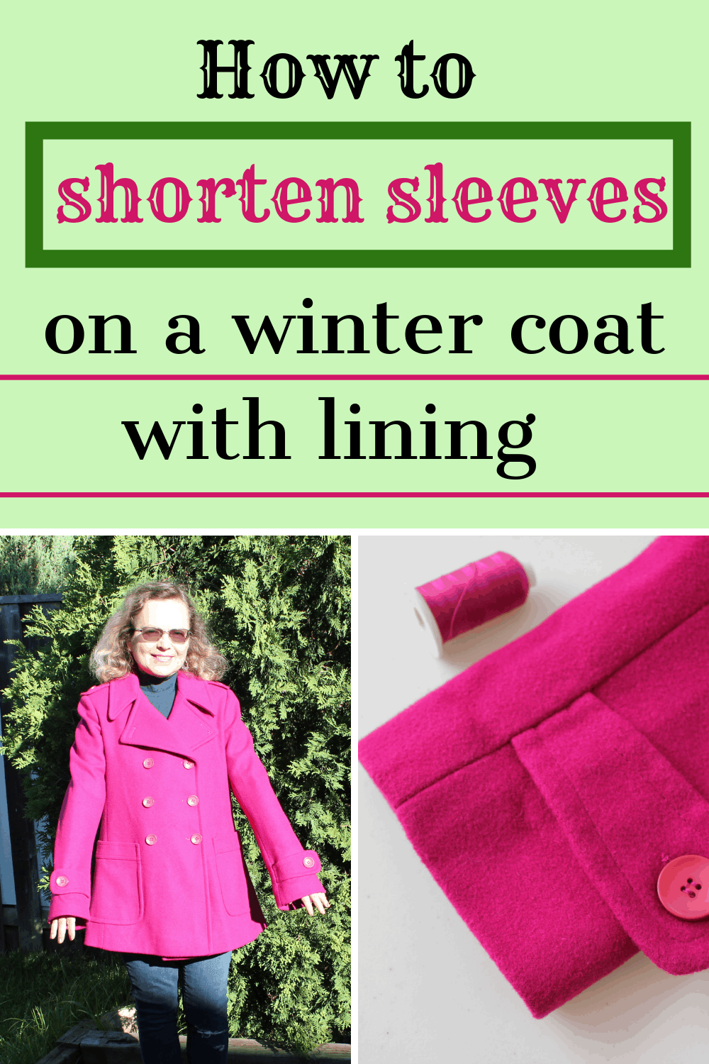 How to shorten jacket sleeves pin for Pinterest