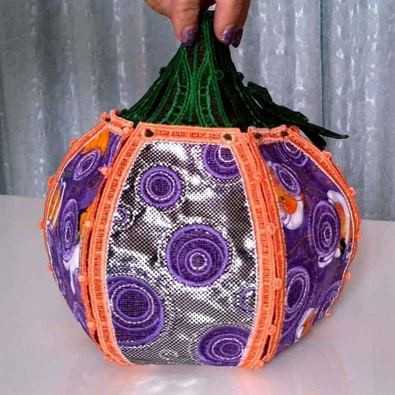 machine embroidery tutorial pumpkin for Halloween decor