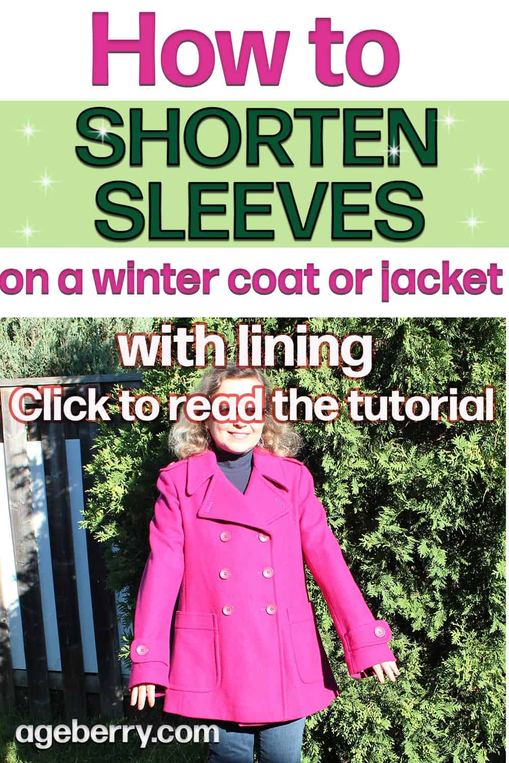 Sewing tutorial on how to sorten sleeves on a winter coat or jacket with lining