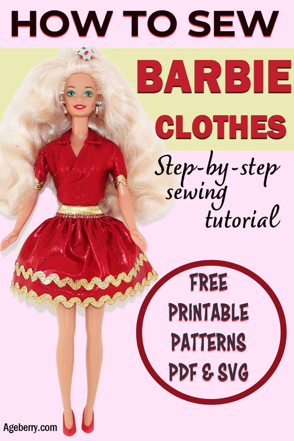 DIY Barbie clothes patterns free printable PDF and SVG