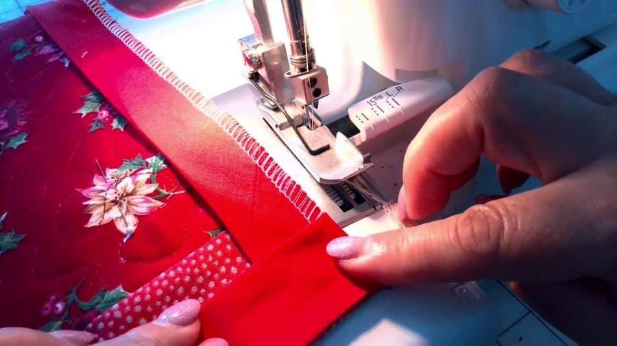 bind a quilt with a serger
