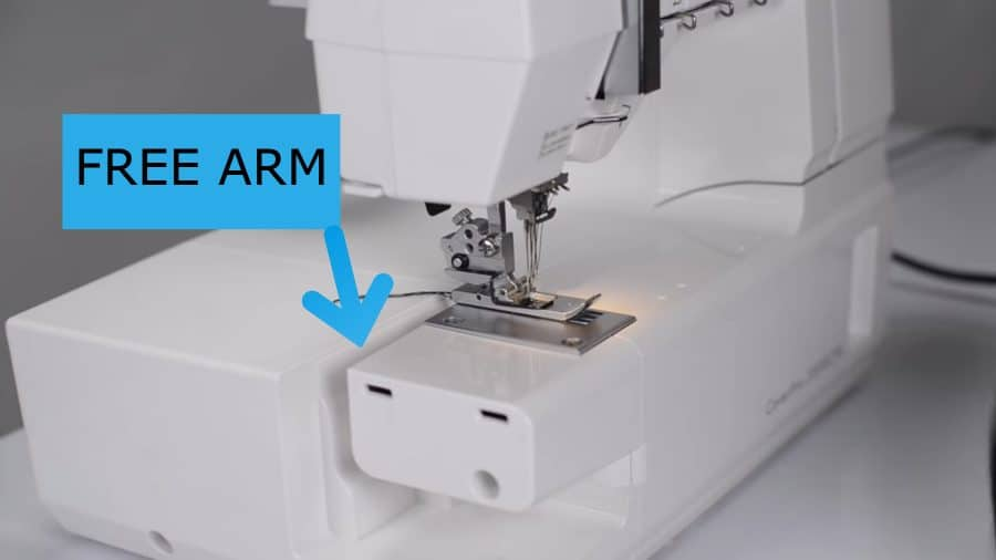 free arm of the coverstitch machine