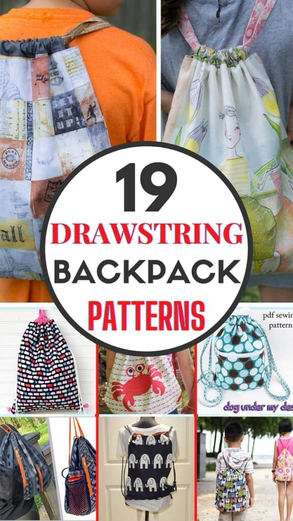 Drawstring backpack patterns and tutorials roundup