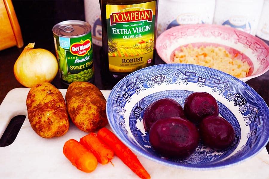 Ingredients for the Russian Beet Salad {vinaigrette, Russian vinegret} recipe