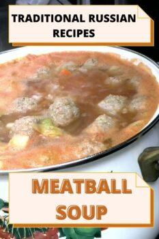 Traditional Russian recipe - a meatball soup frikadelki