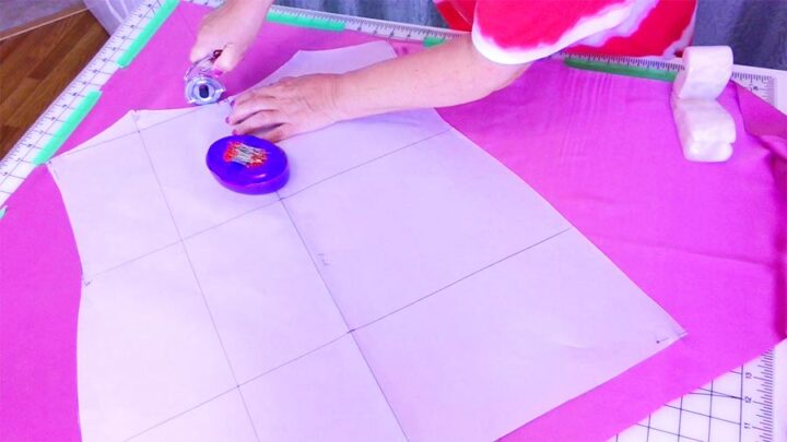 cutting on the bias with Martelli rotary cutter