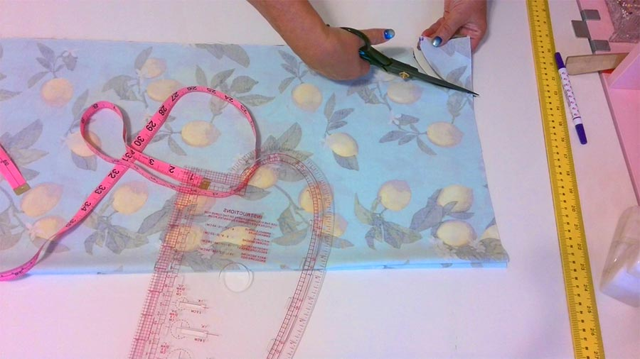 cutting the fabric for armholes for the maxi dress