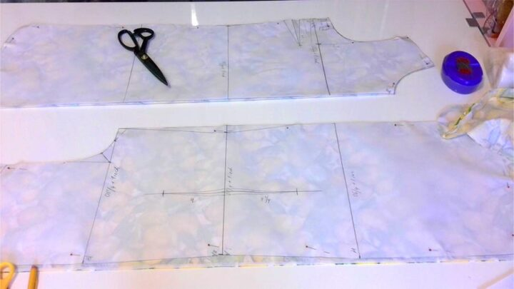 cutting pattern pieces for a dress