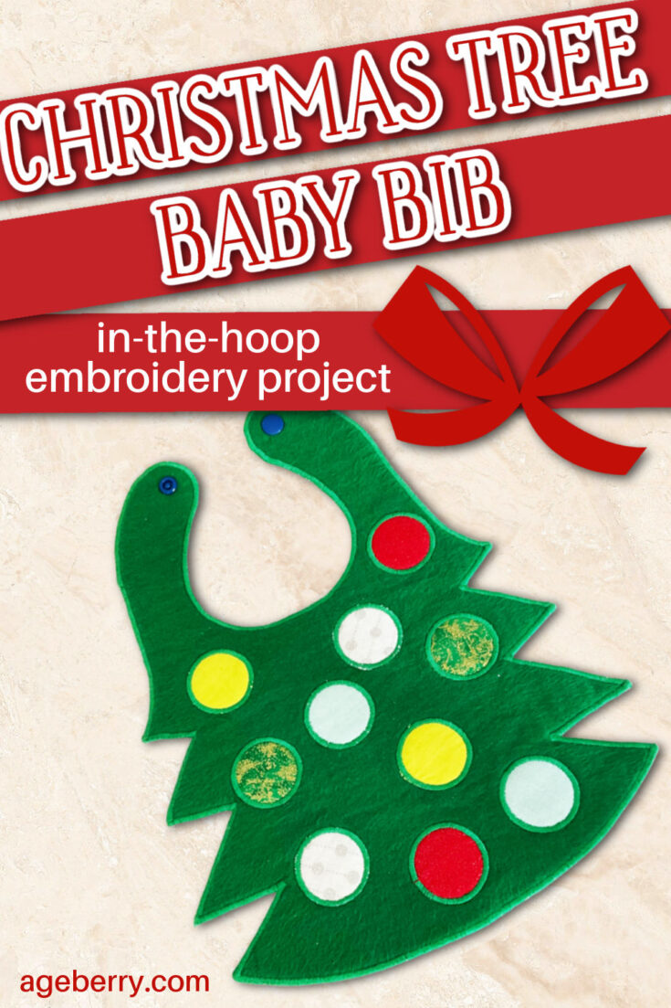 In The Hoop Embroidery Project: Fabric Christmas Tree Baby Bib